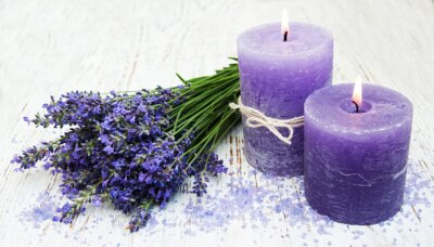 Sticker candle, lavender and sea salt