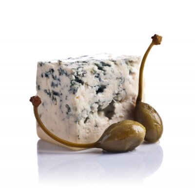 Sticker canned capers and  Blue cheese on white  background