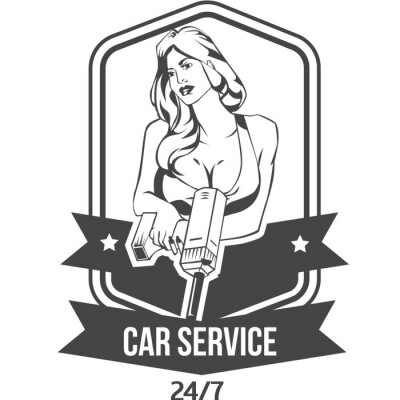 Sticker Car service retro vintage badge with sexy woman  keeps drill