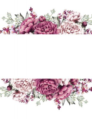 Sticker Card, Watercolor wedding invitation design with pink, purple peonies, bud, little flowers and leaves. Hand painted floral background for your text. Template. Frame.