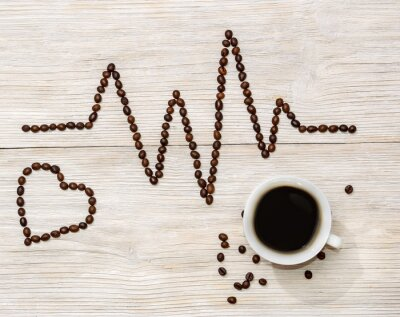 Sticker cardiogram and heart laid out coffee beans with a cup of coffee