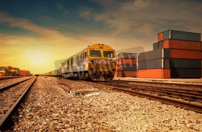 Sticker Cargo train platform at sunset with container
