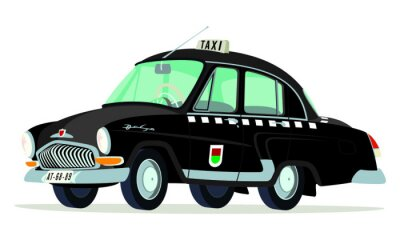 Sticker Caricatura GAZ Volga M21 taxi  Praga - Checoslovaquia negro vista frontal y lateral