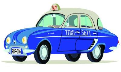 Sticker Caricatura Renault Dauphine Taxi Saigon - Vietnam vista frontal y lateral
