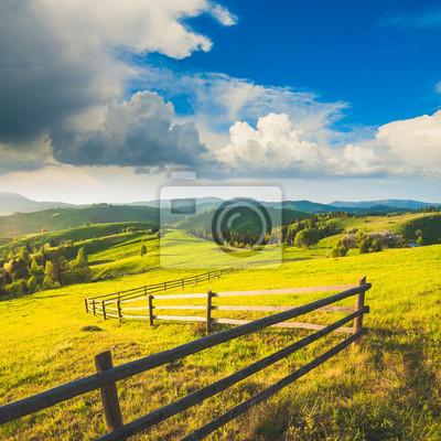 Sticker Carpathian's mountain village hills
