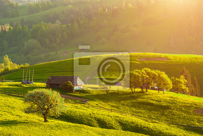 Sticker Carpathian's village hills in a warm sunset light