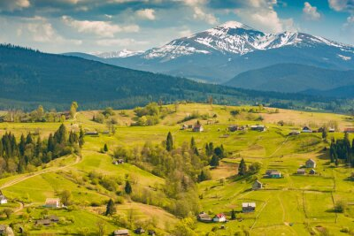 Carpathian village on a spring rolling hills in a mountain valley
