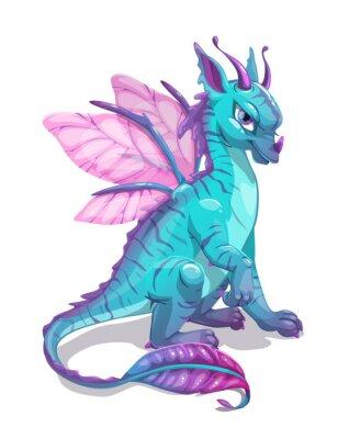 Sticker Cartoon blue fantasy dragon