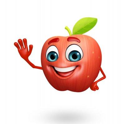 Sticker Cartoon character of apple fruit