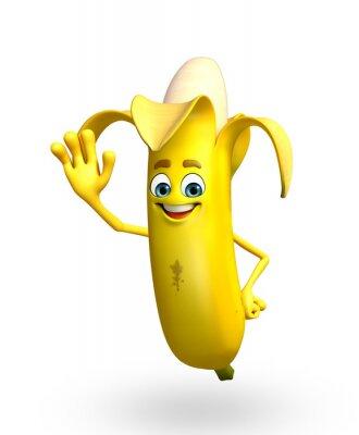 Sticker Cartoon character of banana fruit