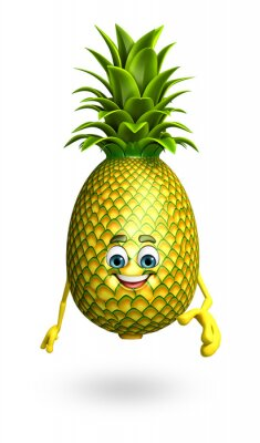 Sticker Cartoon character of pineapple