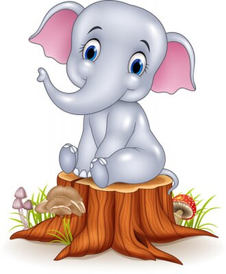 Sticker Cartoon funny baby elephant sitting on tree stump