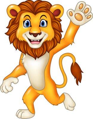 Sticker Cartoon funny lion waving