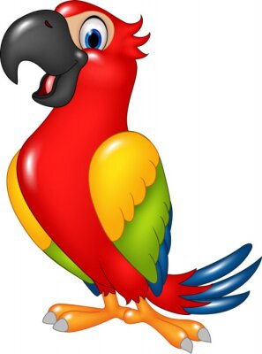 Sticker  Cartoon funny parrot isolated on white background