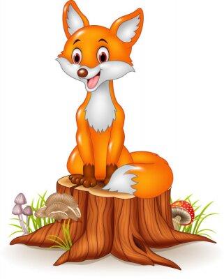Sticker Cartoon happy fox sitting on tree stump