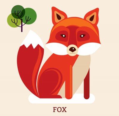 Sticker Cartoon illustration with cute fox