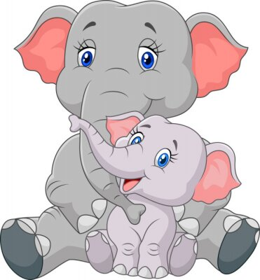 Sticker Cartoon mother and baby elephant sitting isolated on white background