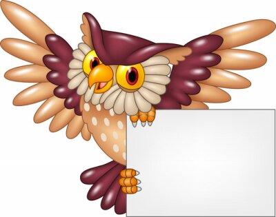 Sticker Cartoon owl bird flying holding blank sign
