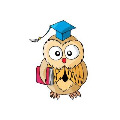 Sticker Cartoon Owl Its Smart