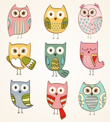 Sticker cartoon owls