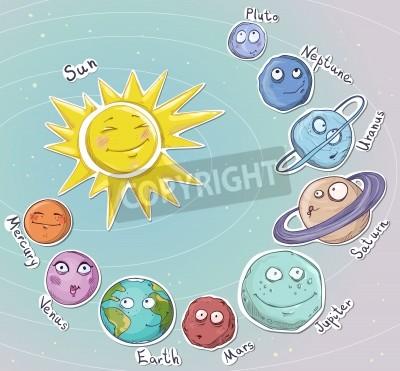 Sticker Cartoon planets  Solar system  Vector illustration