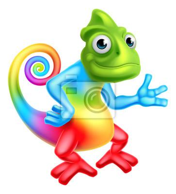 Sticker Cartoon Rainbow Chameleon