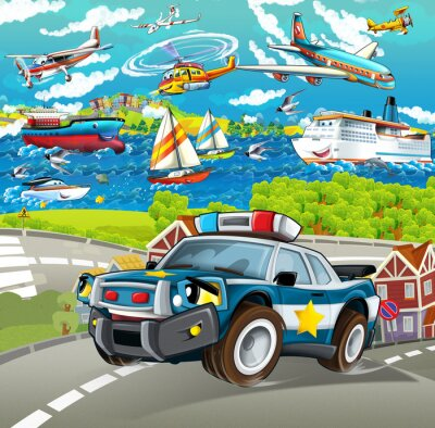 Sticker cartoon scene with police car driving through the city - planes and ships in the background - illustration for children