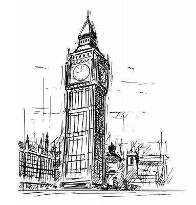 Sticker Cartoon sketch drawing illustration of Westminster Palace, Big Ben Elizabeth clock tower in London, England, United Kingdom.