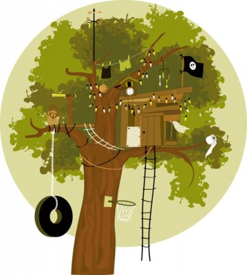 Sticker Cartoon tree house with a pirate flag, tire swing, basketball ring, telescope, cuckoo clock, clothes line and weather vane, no transparencies, EPS 8