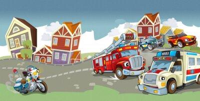 Sticker Cartoon vehicles - illustration for the children