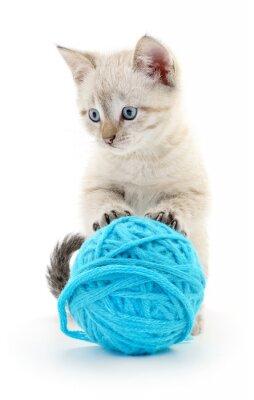 Sticker Cat with ball of yarn