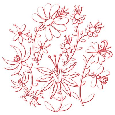Sticker Celebration day folk  and embroidery  cutout  inspired  by eastern European culture   round shape in white with floral elements with red stroke with 3D effect