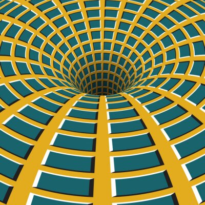 Sticker Checkered funnel. Rotating hole. Motley moving background. Optical illusion illustration.