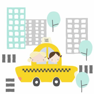 Sticker Cheerful girlfriends in a taxi ride to the city. Kids graphic. Vector hand drawn illustration.