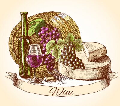 Sticker Cheese wine and bread background
