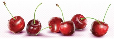 Sticker Cherries are placed in a line