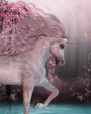 Sticker Cherry Blossom Unicorn - The Unicorn horse is a mythical creature with a horn on it's forehead and cloven hoofs and lives in the magical forest.