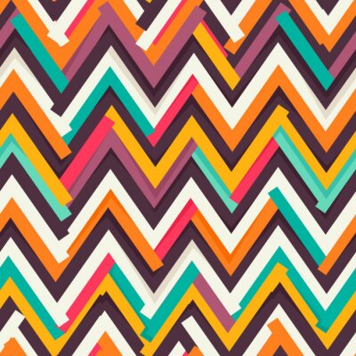 Sticker Chevron paper cut out seamless pattern