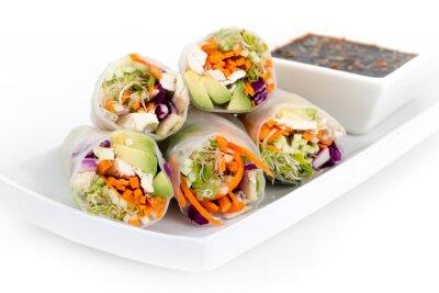 Sticker chicken and avocado rice paper spring rolls