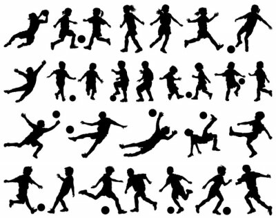 Sticker Children playing soccer vector silhouettes