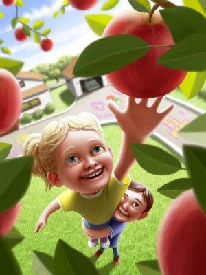 Sticker Children reaching for an apple
