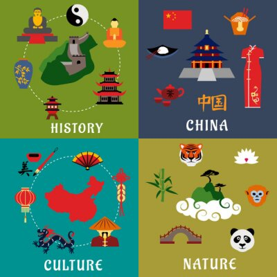 Sticker China history, culture and nature icons