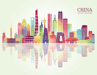Sticker China skyline detailed silhouette. Vector illustration