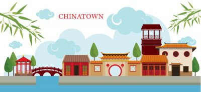 Sticker Chinatown Building and Park, Travel, Town, Traditional Culture