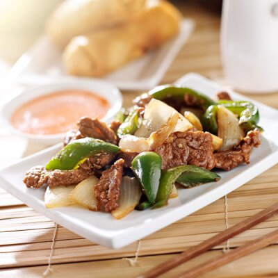 Sticker Chinese food - Pepper beef at restaurant