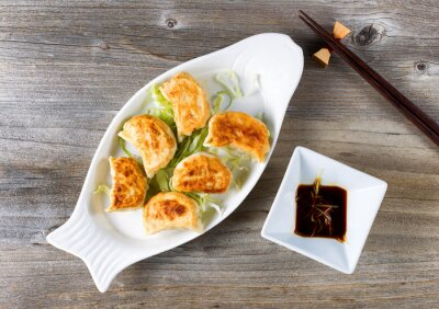 Sticker Chinese fried dumplings dish with dipping sauce ready to eat