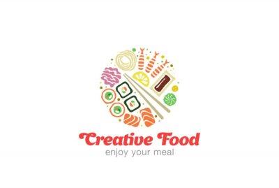 Sticker Chinese Japanese Sushi Sashimi Seafood Logo design.
