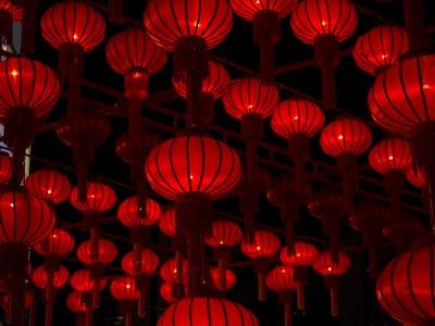 Sticker Chinese Lanterns, Chinese New Year.