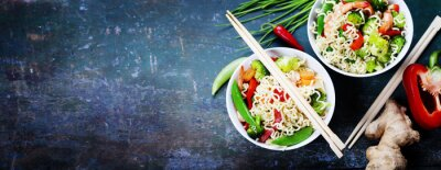 Sticker Chinese noodles with vegetables and shrimps
