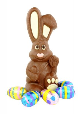 Sticker Chocolate Easter Bunny And Eggs
